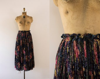 1980s Forbidden Nymph floral darkness summer skirt / 80s lace & roses