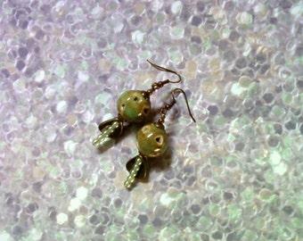 Brown and Peridot Green Earrings (1991)