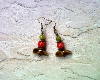 Green, Red and Brown Rustic Earrings (1630)