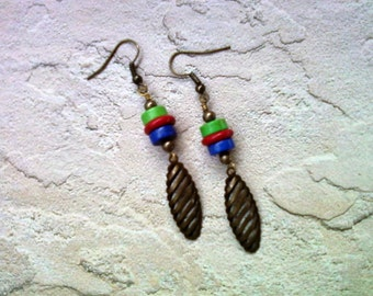 Blue, Red and Green Drop Earrings (1628)