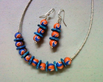 Blue, Orange and Silver Necklace and Earrings (1433)