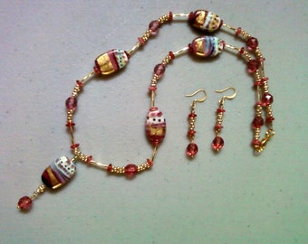 Pink and Gold Lampwork Bead Necklace and Earrings (0963)