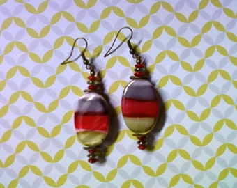 Gray, Red and Olive Green Shell Earrings (2044)