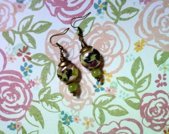 Lime Green, Cocoa, Black and White Swirl Earrings (2064)