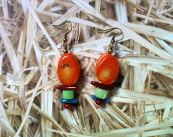 Orange, Green, Red and Blue Coral Earrings (1540)