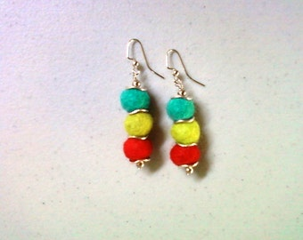 Teal, Green and Red Felt Earrings (1308)