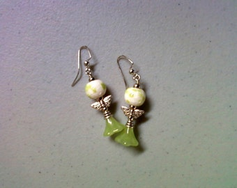 Lime Green, White and Silver Winged Flower Earrings (1816)