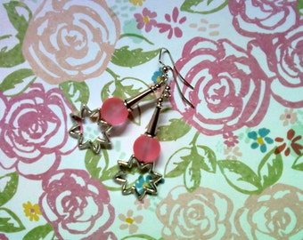 Pink and Silver Sunburst Earrings (2084)