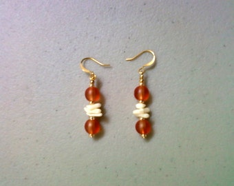 Orange and Ivory Coral and Sea Glass Earrings (1030)