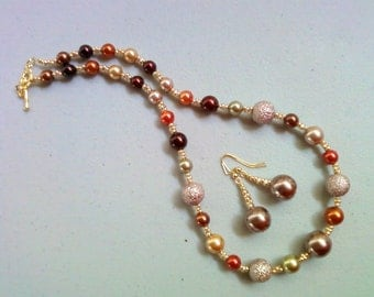 Multicolor Pearl Necklace and Earrings - Brown, Taupe, Orange, Gold, Maroon and Sage Green (0081)