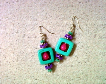 Turquoise, Pink and Purple, Earrings (2121)