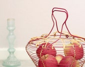 SALE 40% off | Vintage metal wired fruit basket, Salad spinner, Red and yellow