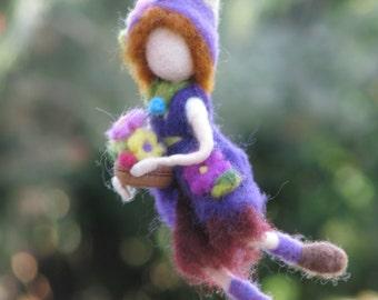 Needle felted Waldorf Inspired Art doll Soft sculpture Gardener Spring decoration Mobile