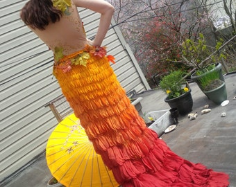 The Fall Mermaid Costume, Ombre Chiffon Wrap Skirt, Autumn Fairy Size S/M, OOAK Etsy ASAP