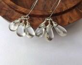 trio earrings, quartz earrings, briolette quartz, cluster earrings, sterling silver, modern, quartz jewellery, wear any time, clear quartz