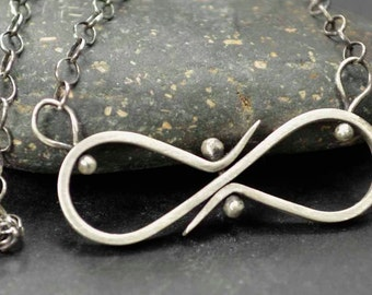 Infinity Necklace, Pinned, Sterling Silver Necklace, Metalsmith Jewelry