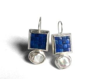 Mosaic Earrings - Lapis Lazuli, Pearl & Matte Brushed Silver