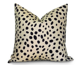 Dalmatian Spotted Pillow Cover - Black and Ivory - more sizes - BOTH SIDES - Animal Pillow - Decorative Pillow - Designer Pillow