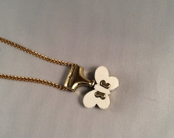 Vintage White & Gold Butterfly Necklace