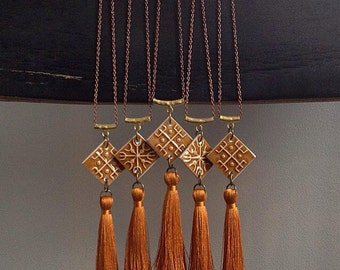 StayGoldMaryRose - Vintage amber glaze 'Totem Tassel' pendant with silk thread tassel and antique copper chain.