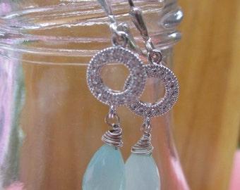 Microcut cz and blue chalcedony silver drop earrings