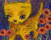 Yellow Cat in Flower Garden acrylic painting by Melissa BEE 4x4 wood block