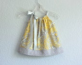 New! Baby Girls Yellow Dress and Bloomers Outfit - Yellow with Grey and White  - Infant Sun Dress - Size Newborn, 3m, 6m, 9m, 12m or 18m