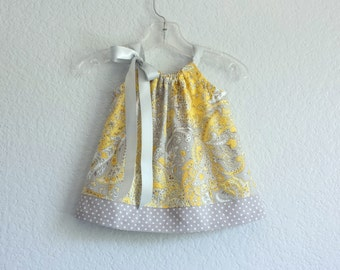 Baby Girls Yellow Dress and Bloomers Outfit - Yellow with Grey and White  - Infant Sun Dress - Size Newborn, 3m, 6m, 9m, 12m or 18m