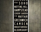 SMALL London Metro Subway Sign, London Art, Bus Scroll, British Décor, Typography Print, Canvas Roll Sign, Industrial London Poster. 12 x 36