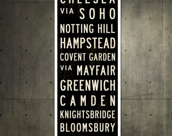 SMALL London Metro Subway Sign, London Art, Subway Art, Bus Scroll, British Decor, Typography Print, Roll Sign, London Poster. 12 x 36