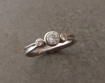 Rustic Moissanite Three Stone Engagement Ring - 14kt White Gold - Nature Inspired