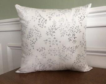 Throw Pillow Cover - Pillow Sham - Decorative Pillow - Euro Sham -  White Batik Nature Print - 14 inch - Sofa Pillow
