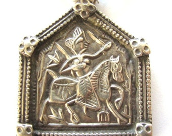 Vintage Indian Amulet, Bhumiya Raj Pendant , Ethnic Tribal, High Grade Silver,  Rajasthan, India, 12.2 Grams