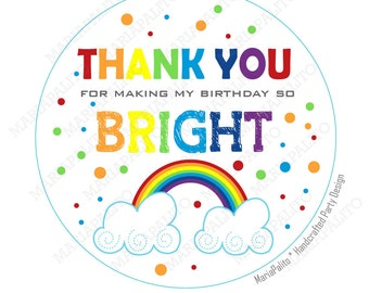 Rainbow Stickers, Thank you Printed Party Rainbow Round Stickers, tags, Labels or Envelope Seals  A1186
