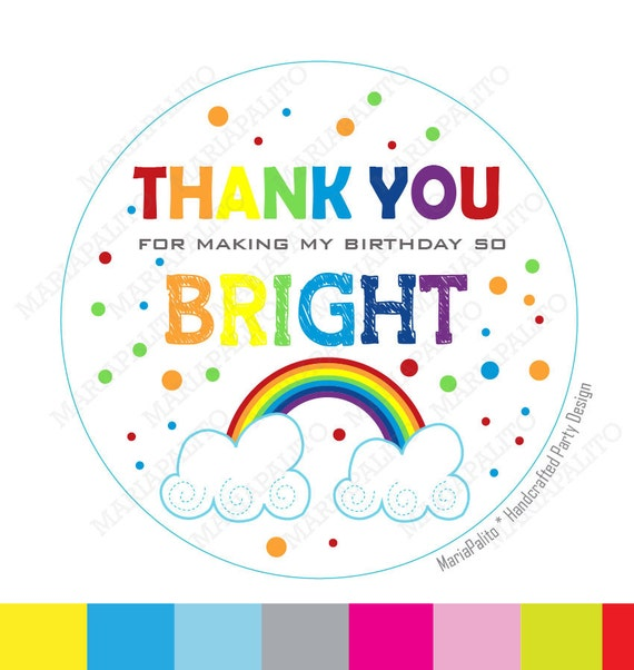 rainbow stickers thank you printed party rainbow round stickers