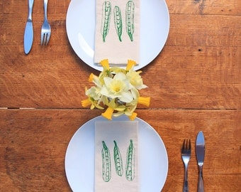 Cotton Napkins - Peapods hand screen printed set of 2 dinner napkins - ecofriendly - reusable napkins for your table setting