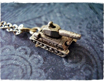 Silver Tank Necklace - Antique Pewter Tank Charm on a Delicate Silver Plated Cable Chain or Charm Only