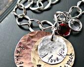 I Love You A Bushel and A Peck - Grandmothers Bracelet - Mothers Bracelet - Stacked Hammered Layers Bracelet - Charm Bracelet