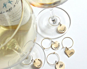 Custom Wedding Wine Charms - Personalized Wine Charms - Brass Personalized Wine Charms - Hand Stamped Wine Charms