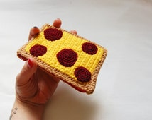 Crochet Coin Purse Pizza Slice Zipper Pouch Pepperoni
