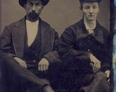 Country and Western COWBOY COUPLE Sitting On Chairs in Tintype Photo Circa 1880s