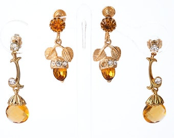 Vintage AMBER EARRINGS, Amber Color, Jewelry Lot, Two Pairs, Pin Up, Costume, JEWELRY, Hollywood Regency, Rhinestone, Screw Back, Dangle