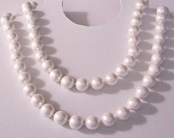 White Opera Length Necklace Gold Tone Vintage 48 Inch Long 12mm Large Round Beads Spring Clasp
