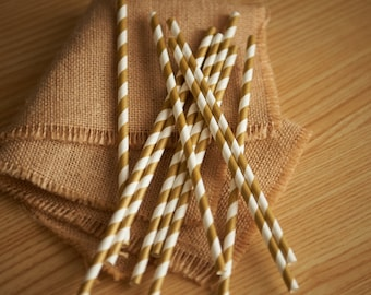 Gold Straws.  Gold Paper Straws.  Ships in 2-5 Business Days.  Striped Straws.  Party Straws 10CT.