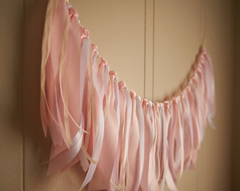 Fabric Garland Backdrop. Handcrafted in 2-3 Business Days. Fabric Garland Banner.  Ribbon Garland Backdrop in Baby Pink, Ivory & White.