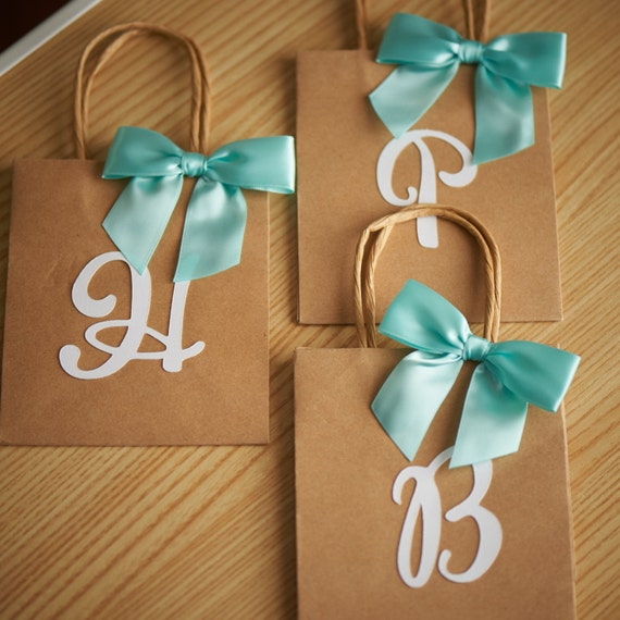 Wedding Return Gift Bags : Gift Bags for BridesmaidsSmall Kraft Paper Bags with HandleParty ...