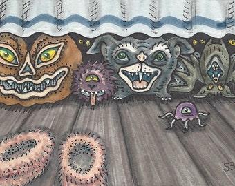 Bedtime MONSTERS Fantasy EHAG Art ACEO Susan Brack Ebsq