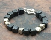 Santorini Lava Bracelet, Men/Women Black Bracelet, Raw Pyrite & Black Lava Cubes Bracelet, Geometric Bracelet, Lava Jewelry, Pyrite Jewelry