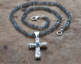 Silver Cross Sapphire Pendant and Labradorite Necklace, Large Christian Cross Pendant Gemstone Statement Necklace, Religious Christian Gift