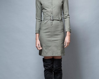 vintage dress military inspired olive green bodycon skinny fit long sleeves XS S extra small - small